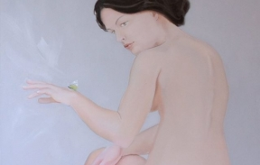 A girl with a butterfly 60х90 cm oil on canvas