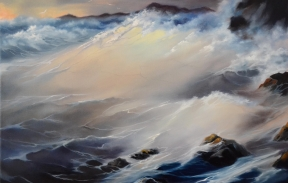 Heavy sea 35x45 cm oil on canvas For sale